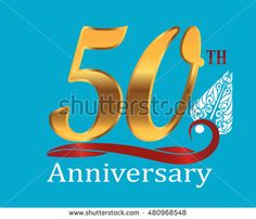 50th golden anniversary logo with white indonesia shadow puppet ornament