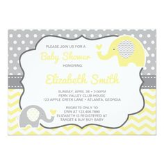 Gender Neutral Baby Shower Invitation in Gray and Yellow, Elephants, Little Peanut