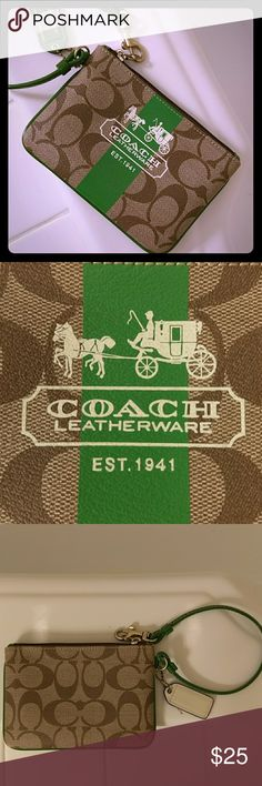 Coach leather wristlet Authentic Leather Coach wristlet in the classic CC logo with stunning green trim. Approx 4X6. Strap drop 6 inches. Gold tone hardware, and zip closure. Interior fabric lined. Super cute for a night out or just shopping. Smoke free home. Used only a couple of times. Coach Bags Clutches & Wristlets
