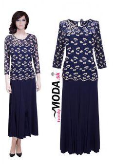 Spoločenské šaty - MS09 Indigo, Dresses For Work, Blouse, Long Sleeve, Womens Fashion, Sleeves, Tops, Indigo Dye, Long Dress Patterns
