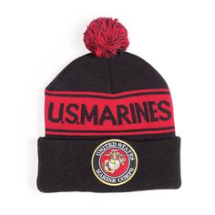 74d5ee4edc2 Marines Pom Pom Cuffed Beanie. Sgt Grit. Military CapMilitary BranchesKnit  Beanie HatNavy SealsUs ...