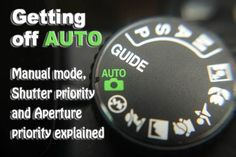 Getting off Auto - Manual, Aperture and Shutter Priority modes explained Some of the clearest instructions I've seen. Macro image of a digital cameras controls set on auto Dslr Photography Tips, Digital Photography School, Photography Lessons, Photoshop Photography, Photography Tutorials, Creative Photography, Flash Photography, Inspiring Photography, Photography Equipment