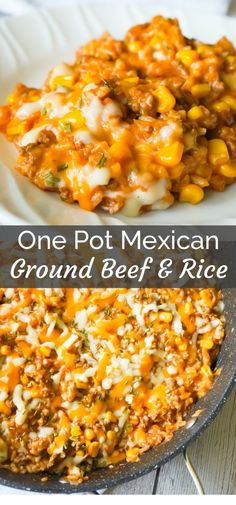 One Pot Mexican Ground Beef and Rice is a stove top dinner recipe loaded with ground beef, rice, salsa, corn and cheese. This cheesy ground beef and rice casserole is an easy dinner recipe perfect for weeknights. recipes for dinner beef rice Healthy Ground Beef, Healthy Beef Recipes, Ground Beef Recipes For Dinner, Dinner With Ground Beef, Easy Dinner Recipes, Chicken Recipes, Ground Beef Rice, Ground Beef Crockpot Meals, Easy Mexican Recipes