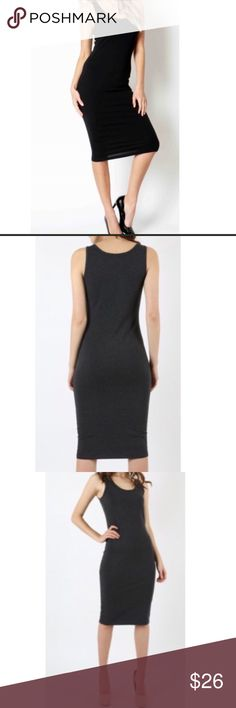 Black bodycon midi dress This hot little number is sexy and simple at the same time, and can easily be dressed up or down! Curve hugging tank style in a knit cotton/spandex blend, midi length. Dresses Midi