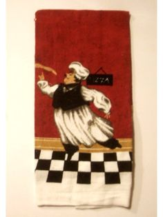 Italian Fat Chef Kitchen Towels Set Set of two kitchen towels that feature a chef balancing himself on one foot while twirling a pizza on his finger. $12.95