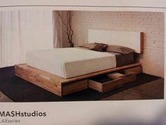 Platform bed with drawers below