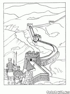 Free coloring page coloring-adult-great-wall-of-china. Coloring page of the great wall of China Colouring Pages, Adult Coloring Pages, Coloring Sheets, Coloring Books, Free Coloring, Painting For Kids, Drawing For Kids, Asia Map, New Year's Crafts