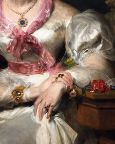 """Sir Thomas Lawrence, """"Portrait of the Honorable Mrs. Seymour Bathurst,"""" detail, 1828."""
