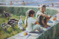 "Saatchi Art Artist Victoria Radionova; Painting, ""A Little Shepherdess and a Fisherman."" #art"