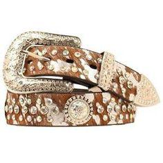 6627a600ea6c6 Nocona Women s Crystal Acid Wash Hair Belt  N3490202  Concho Belt