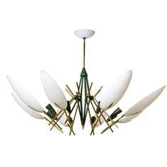 Italian Brass and White Glass Chandelier in the Style of Stilnovo   1stdibs.com