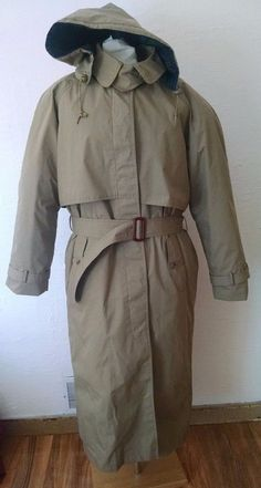 Cabelas Womens Trench Coat Large Long Goose Down Removable Plaid Liner Hood Tan #Cabelas #Trench