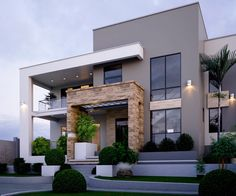 37 Stunning Contemporary House Exterior Design Ideas You Should Copy - Today, contemporary house plans are very intelligently designed to give utmost comfort to the people. These plans not only feature flexible floor spac. House Front Design, Modern House Design, Flat House Design, Modern Exterior House Designs, Modern Architecture House, Architecture Design, Amazing Architecture, Islamic Architecture, Minimal Architecture