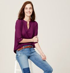 We're into the laid-back vibe of this split neck style, designed in soft cotton with a can't-resist broken in fit. Split neck. Long sleeves. Banded neckline. Roll cuffs with button tabs. Pleated beneath back yoke.
