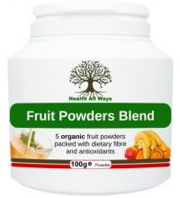 Fruit Powders Blends OrganOrganic daily fruit shake: Our quick and healthy alternative to juicing fresh fruit on a daily basis!  This tasty blend of 5 freeze-dried organic fruit powders contains baobab, banana, orange, apple and pear. It is bursting with antioxidants, vitamins, minerals and beneficial dietary fibre.  An easy way for you and your family to contribute to your 5/7-a-day! Also great as a daily shake or quick snack at any time. Great for kids.ic.