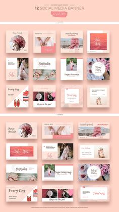 Pink Peach Social Media Designs by Evatheme on the Creative Market - Advertising Design Social Media Ad, Social Media Banner, Social Media Template, Social Media Design, Social Networks, Social Media Graphics, Social Media Campaign Ideas, Social Media Trends, Social Media Branding