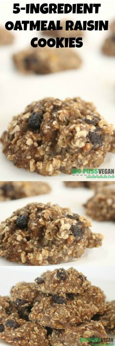 5 Ingredient Vegan Oatmeal Raisin Cookies | The No Fuss Vegan  These cookies are packed with flavor and SUPER easy to make!  #dairyfree #vegan and if you use gluten-free oats they would be GF too!