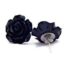 Large Black Rose Earrings Big Fashion earrings Rockabilly Large Flower... ($7) ❤ liked on Polyvore featuring jewelry, earrings, kohl jewelry, resin jewelry, black earrings, black jewelry and flower earrings