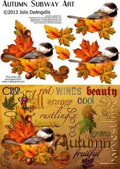 Autumn Subway Art A5 step by step card on Craftsuprint designed by Jolis DeAngelis - A little spin on the recent craze for Subway Art. This conglomeration of words and images truly evokes autumn's loveliness and bounty. With a lovely step by step element, this card is a true seasonal stand out. - Now available for download!