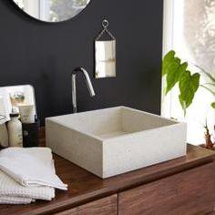 Stone washbasin - Sale of Madegrey washbasins - Tikamoon Countertop Basin, Stone Countertops, Shower Cabin, Downstairs Toilet, D 40, Loft Room, Vanity Cabinet, Solid Wood Furniture, Bathroom Interior Design