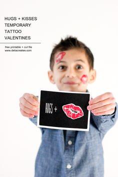 Hugs + Kisses Temporary Tattoo Valentine {with free printables!} // www.deliacreates.com