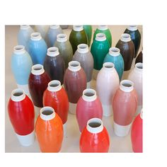 COLOURED VASES - An experiment with 42 industrial colours of the Natural Colour System (NCS) in which the porcelain vase is used as the 'canvas' - Hella Jongerius