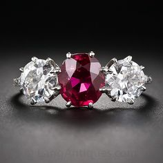 1.74 Carat Ruby and Diamond Ring