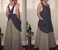 Grembiule: 100% lino giapponese. Semplice. Lino pesante wight. 2 tasche anteriori. Morbido e confortevole. Lino naturale. Perfetto per tutti i