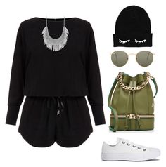 """""""Untitled #223"""" by stefaniareyna ❤ liked on Polyvore featuring Helmut Lang, Converse, MANU Atelier, Ray-Ban and Lucky Brand"""