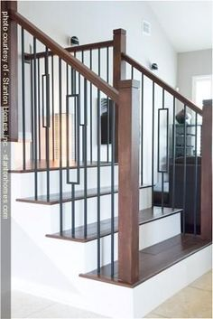 Aalto contemporary railings with modern handrails and post to be stained in Ebony/Grey