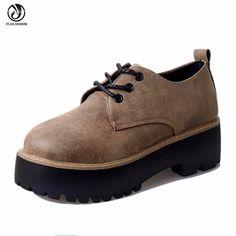 Nouveau 2016 Marque De Mode Chaussures Femmes Casual chaussures Dames Plat Plate Forme Chaussures Printemps Automne En Cuir Boot femmes creepers Noir Kaki dans Appartements de femmes de Chaussures sur AliExpress.com | Alibaba Group