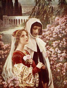 """Cesare Saccaggi (Italian, 1868-1934), """"Dante and Beatrice in the garden"""""""