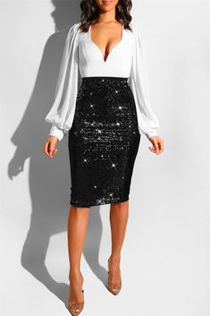 Women'S Sequins Bodycon Skirt Black Gold Office Lady High Waist Lined Midi Pencil Skirts Woman Summer Solid Bottoms Color Black Size S Sequin Skirt Outfit, Black Sequin Skirt, Casual Skirt Outfits, Club Outfits, Club Dresses, Party Dresses, Wedding Dresses, Perfect Prom Dress, Bodycon