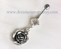 Rose Belly Button Rings, Crystal Anchor Belly Button Jewelry Belly Ring, vintage rose