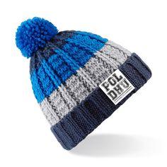• Poldhu Branded Beanie • Chunky knit • Hand-knitted feel • Removable pom pom • Bold three colour stripe design • 100% Soft-Spun Acrylic