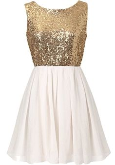 Swanky Soirée Dress: Features a sparkling gold sequin bodice, graceful V-design to the rear crowning an exposed zipper, and a pleated white chiffon skirt to finish.