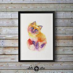 Fox Print Wall Art, Fox Nursery Art, Animal Drawing Gift, Fox Art Print, Fox Nursery Decor, Fox Print, Digital Download, Watercolor Print