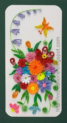 Card with a quilled butterfly and flowers at Inna's Creations Crafts, Kids, Quilling