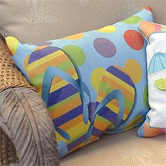 Flip Flop Print Pillow  Our indoor/outdoor pillow adds a splash of sass to your patio or beach blanket.