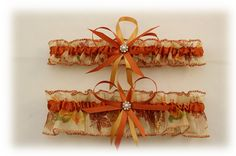 Wedding Garter Set with Autumn Colors by StarBridal on Etsy