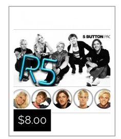 Individually packaged 1-inch buttons featuring each member of R5.  Pin to your jacket, your backpack, or wherever else you want to show your love for R5!