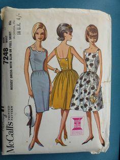 VintageMcCall's#7248 Back Wrapped Square Necked Dress  Bust34 Hip36 Sz14 #McCalls #SlimorFullSkirt