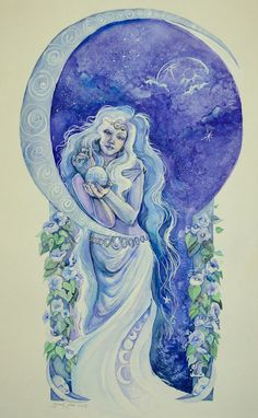 Night watercolor painting print of moon goddess by BlindEyeArtist, $20.00