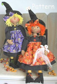 PATTERN Primitive Raggedy Ann Witch Cloth Doll #22 Ghost Halloween Sewing Folk