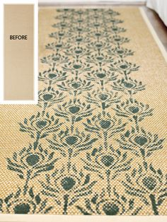 Country Living magazine featured our Peacock Fancy on a stenciled sisal runner!
