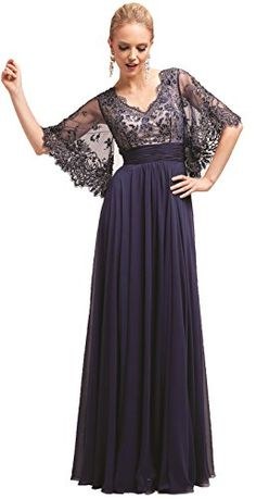 Meier Women's Short Sleeve Double V-Neck Lace Mother of Bride Dress at Amazon Women's Clothing store: