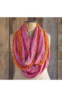 0e53fc2ede6 Indie Pom Pom Infinity Scarf Pink Orange - Cricket Alley Boutique Diy  Scarf
