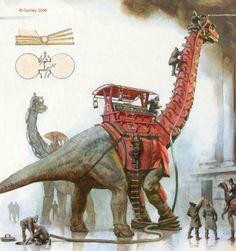"""Dinosaur Firesquad, James Gurney, Oil, 2006 - Imgur"