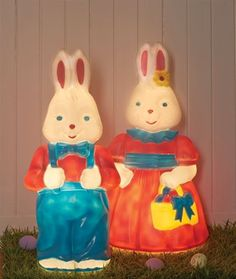 Light your doorway with our Mr and Mrs Rabbit blow mold. For indoors or outdoor use, these Easter blow molds are sure to impress any visitor.