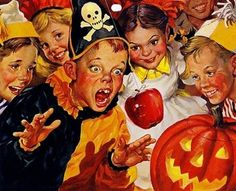 Norman Rockwell painting. Trick-or-Treat!
